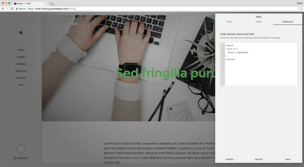 Changing the color of a heading on a banner image in a regular page in Squarespace