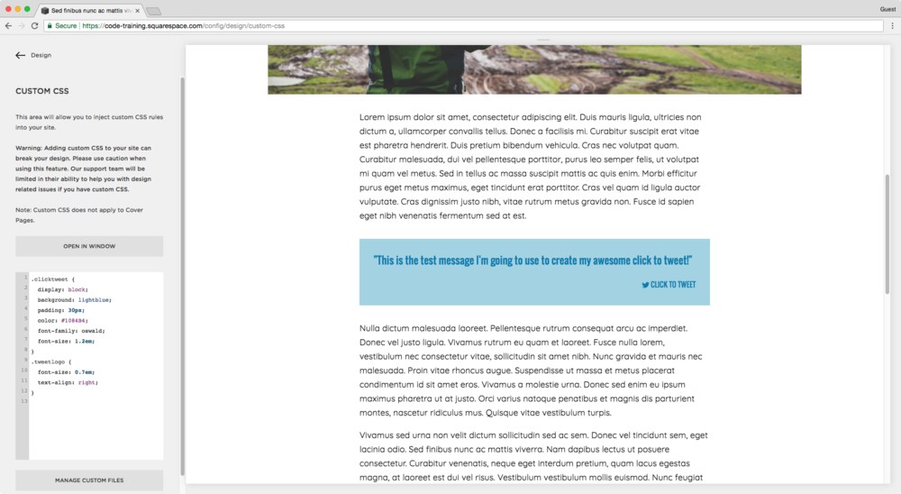 Styling a tweet this block in Squarespace