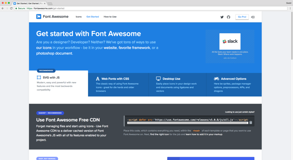 Adding Font Awesome to your Squarespace header section.