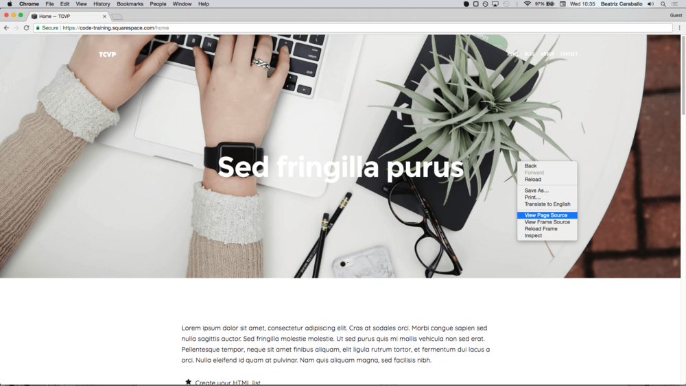 View source to find Squarespace page collection ID