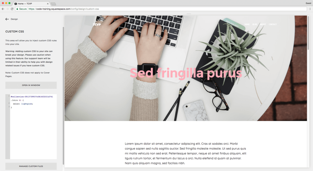 Change heading styles on one page only in Squarespace
