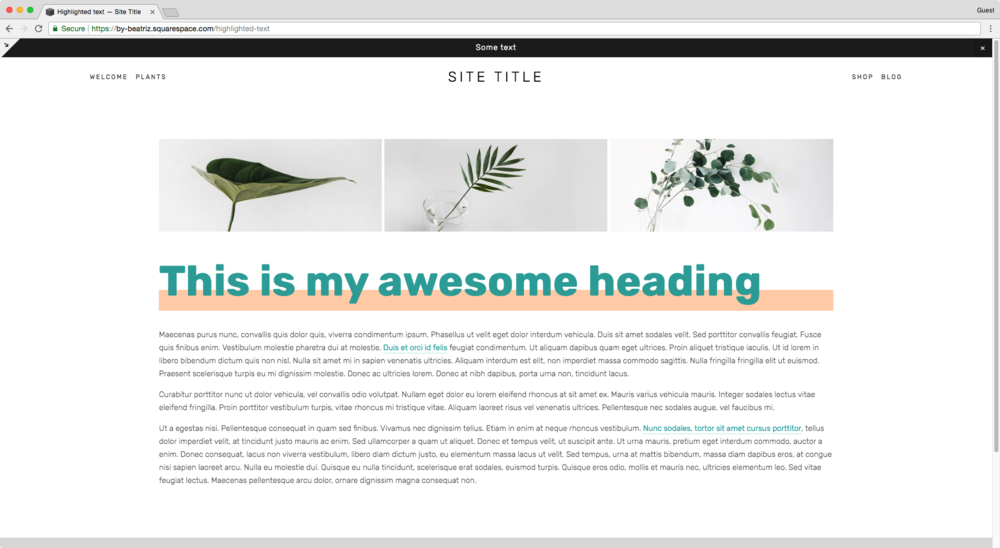 Background extending beyond the h1 in Squarespace