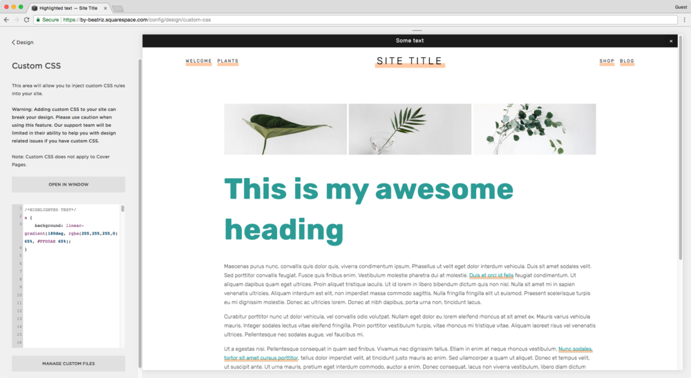 Adding a background to links in Squarespace