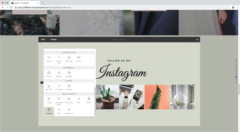Selecting the Instagram block in Squarespace
