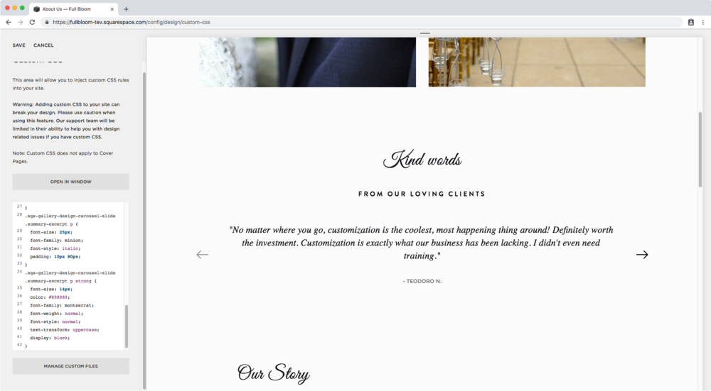 49. Styling summary block carousel excerpt Squarespace.png