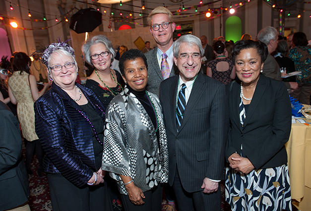 Campaign Leadership at the Library's annual Mardi Gras fundrasier.     (From L to R):  Martha Brogan , City Librarian and Director;  Althea Norcott , Retired Educator & Community Leader;  Elsie B. Chapman , President of the New Haven Free Public Library Foundation Board of Directors;  Michael Morand , President of the New Haven Free Public Library Board of Directors;  Dr. Peter Salovey , President of Yale University;  Hon. Toni Harp , Mayor of New Haven.
