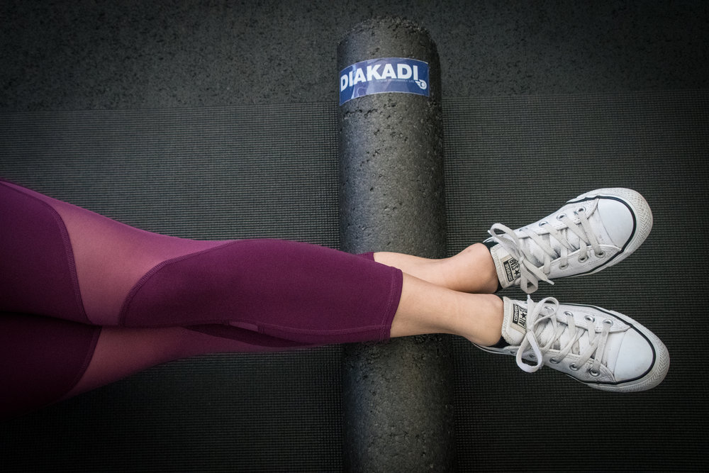 foam roll for hamstrings. personal training sf