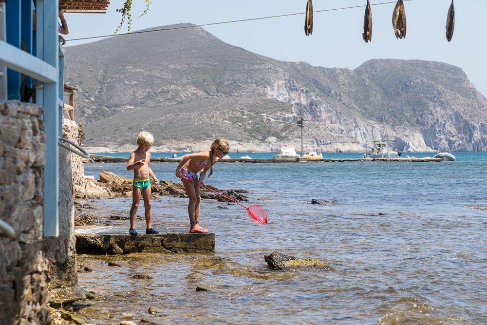 Kids fishing on Antiparos