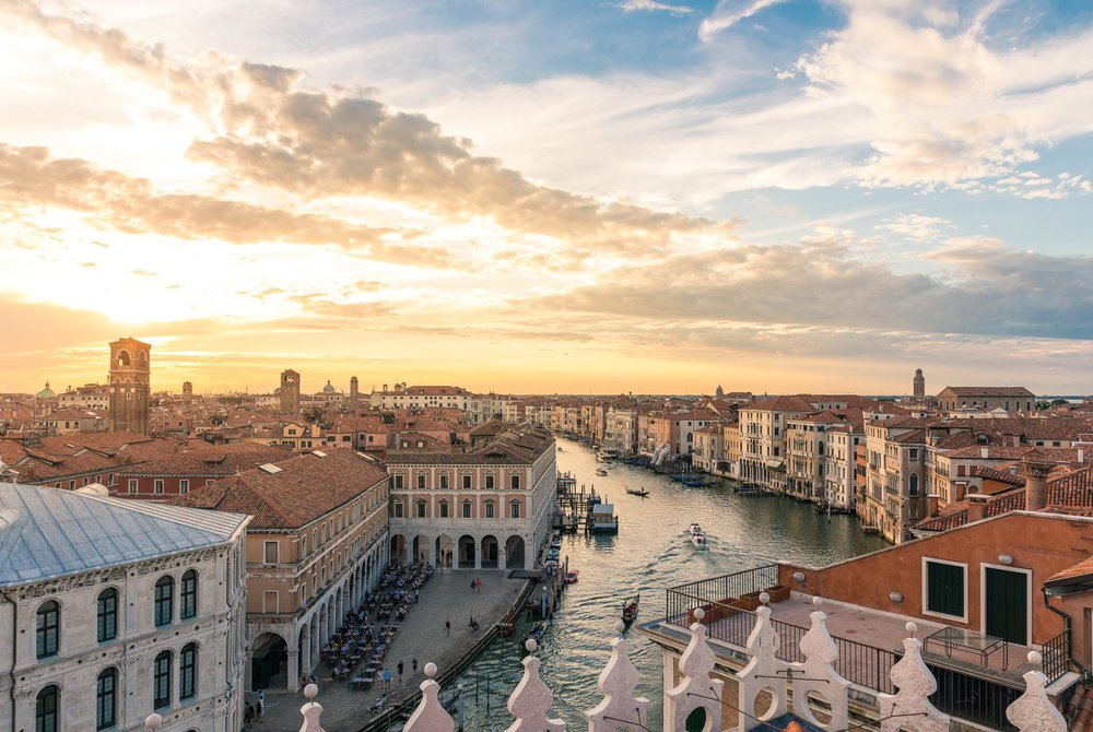 View over the Grand Canal from the T Fondaco Rooftop Terrace