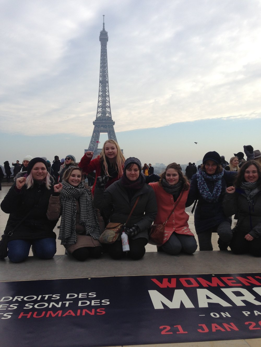 Katies, studying over in France over J-Term, marching in Paris