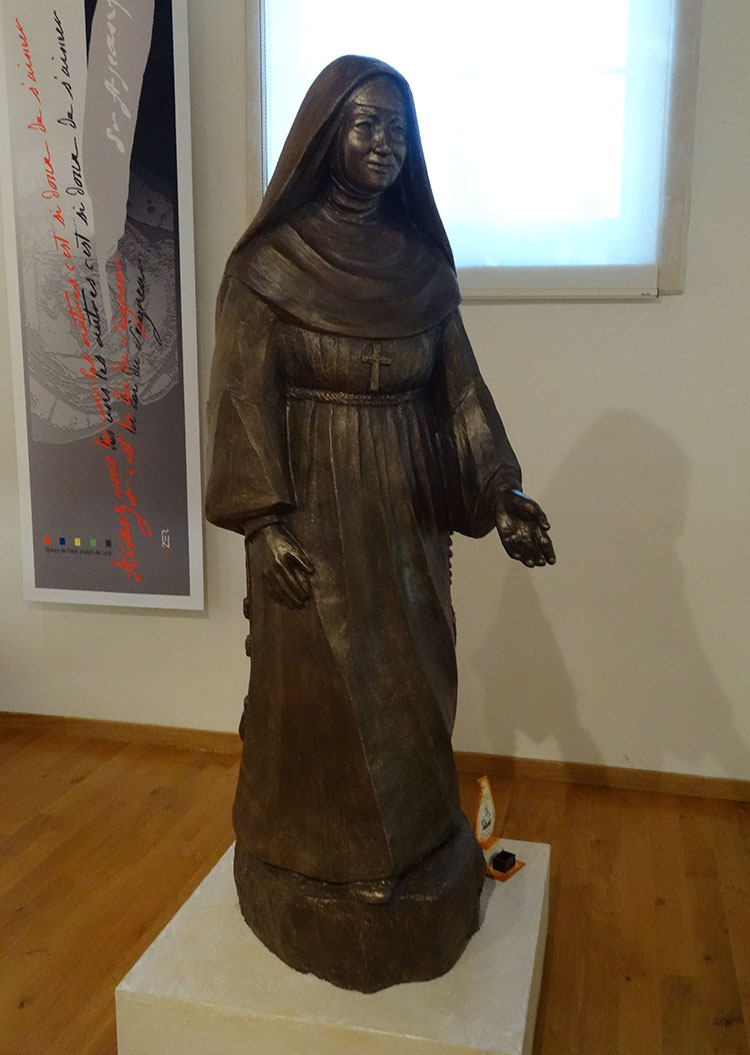 Statue of Mother St. John Fontbonne, outside of her bedroom in the Sisters of Saint Joseph Heritage Rooms in Lyon, France. Photo by Kate Barrett