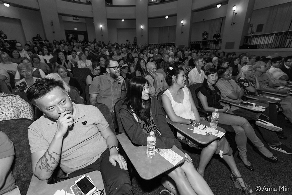 Audience members at  An Evening with Viet Thanh Nguyen and Kao Kalia Yang  in Jeanne d'Arc Auditorium, St. Catherine University on Friday, Sept. 15, 2017. Photo by Anna Min. Used with permission from the Minnesota Humanities Center.