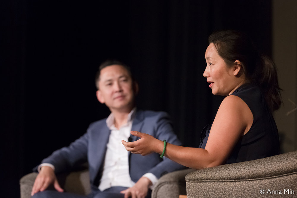 Viet Thanh Nguyen (left) in conversation with Kao Kalia Yang in Jeanne d'Arc Auditorium, St. Catherine University on Friday, Sept 15, 2017. Photo by Anna Min. Used with permission from the Minnesota Humanities Center.