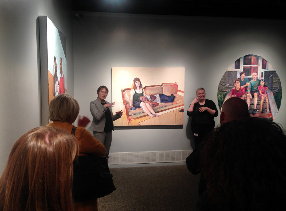 Amy Herman in dialogue with St. Kate's staff and faculty about Leslie Barlow's exhibition of new paintings in the Catherine G. Murphy Gallery, St. Catherine University on Thursday, Nov. 2, 2017. Photo by Amy Hamlin.