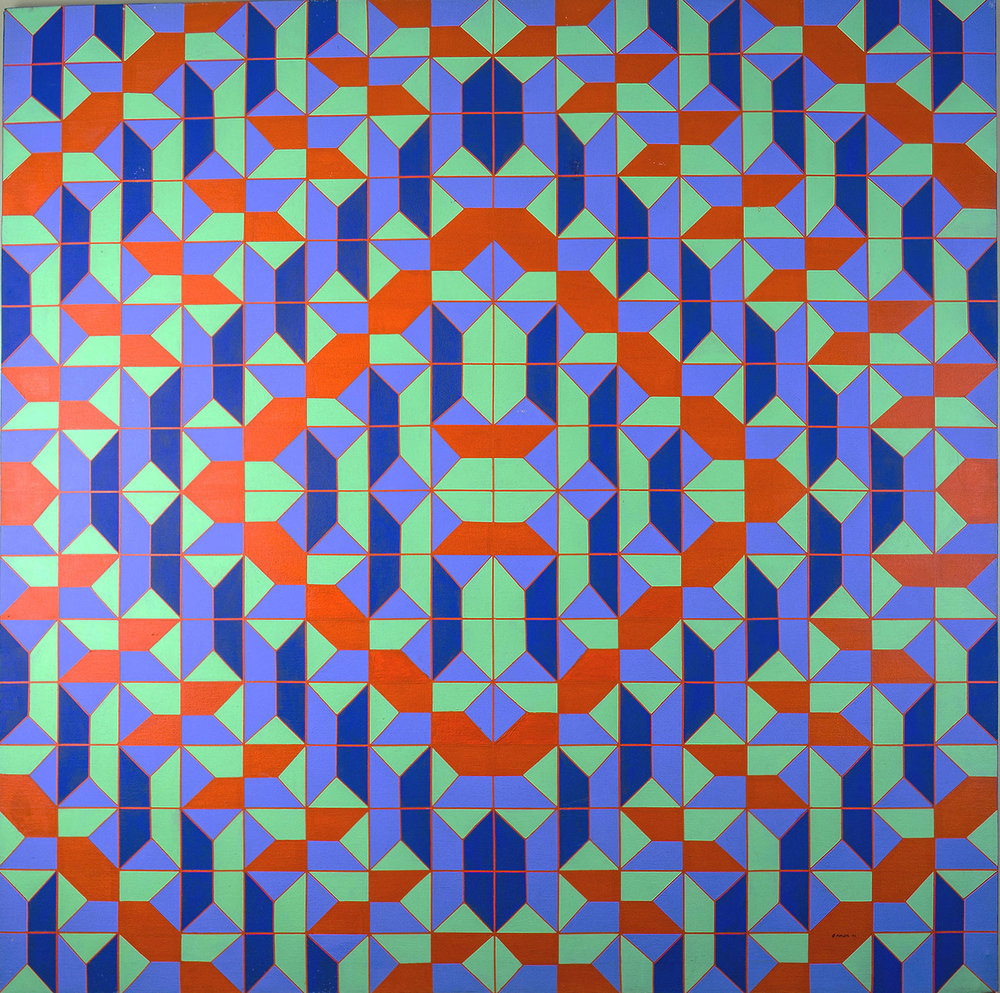 Sonia Daleki (College of St. Catherine Class of '59), An Abelian Group: Addition Modulo 8, 1971. Acrylic on canvas. Collection of St. Catherine University [Image Source: Fine Arts Collection, used with permission]
