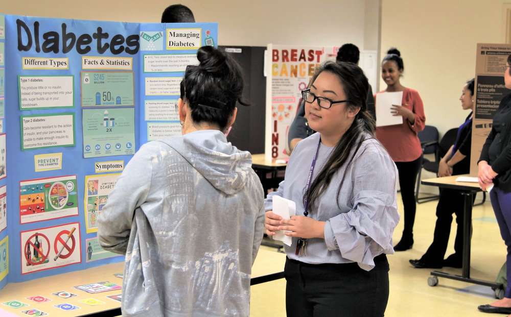 Public Health major Gao Lee, '18, presented alongside HLTH 2040 Health Promotion Competencies classmates to adult English Language Learners for their community-engaged learning. Spring 2018 was the fourth semester the Professor Julie Mumm has collaborated on a health fair with Minneapolis Public Schools through Community Work and Learning.