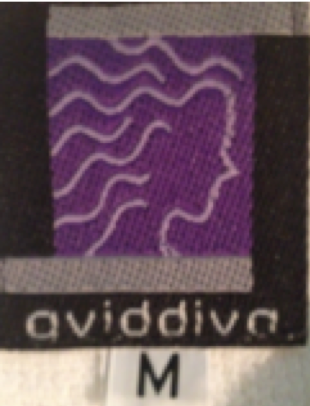 The only surviving photo of the Aviddiva brand logo and tag.