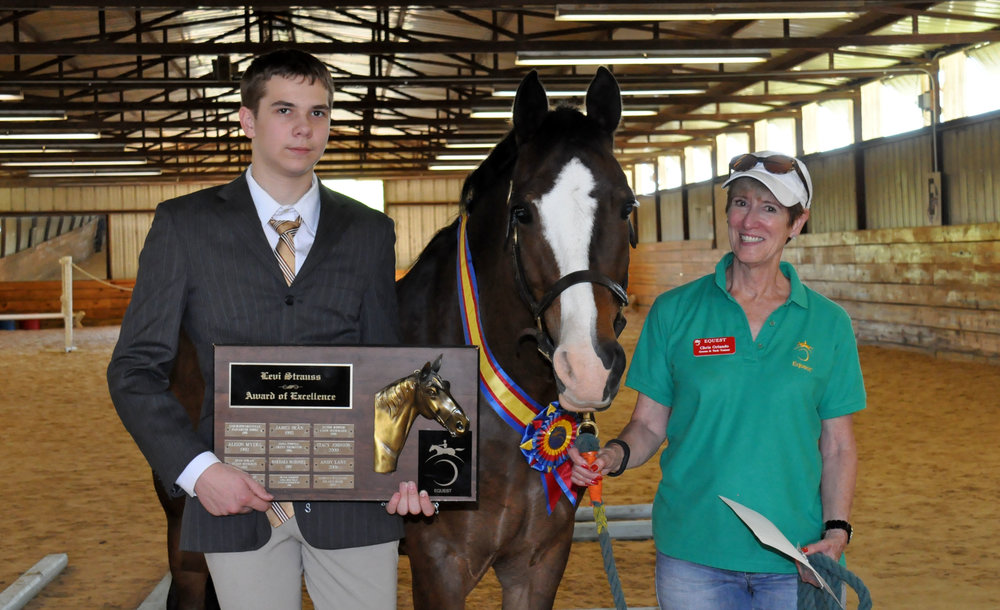 John with Equest Therapy Horse Bryn and Equest Groom & Tack Trainer Chris Orlando at Equest's Spring Horse Show