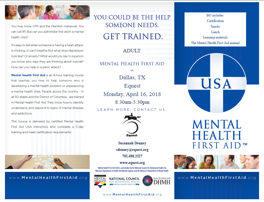 Mental Health First Aid Adult Module Equest