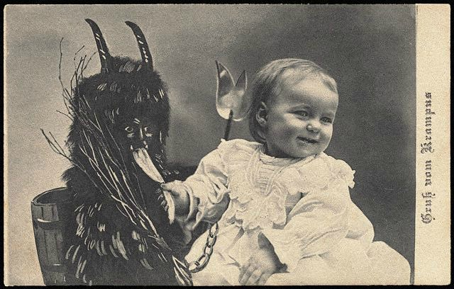 Old Photo with Krampus on a Christmas Card