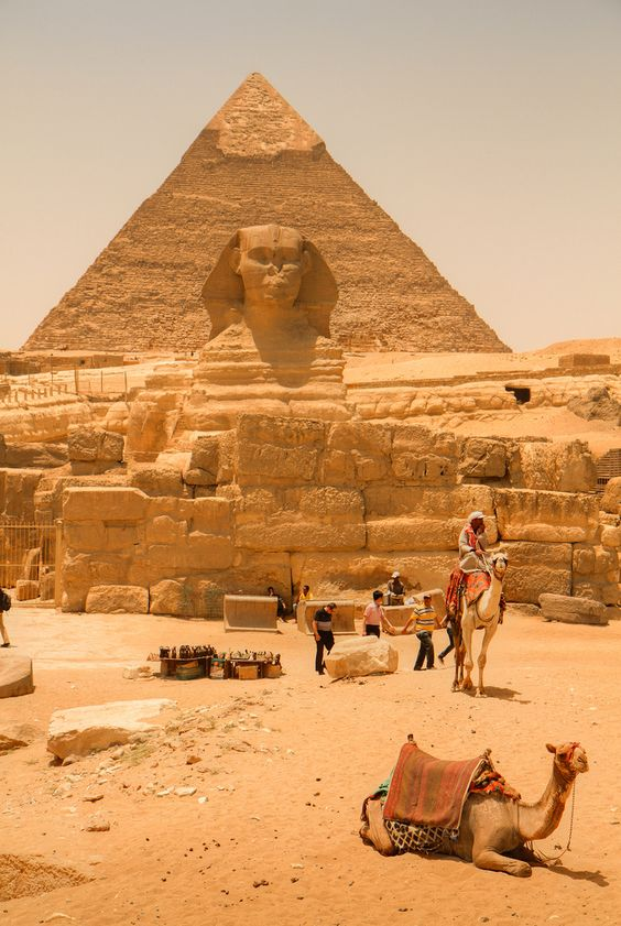 Pyramids of Giza & Sphinx. {Image borrowed from Pinterest}