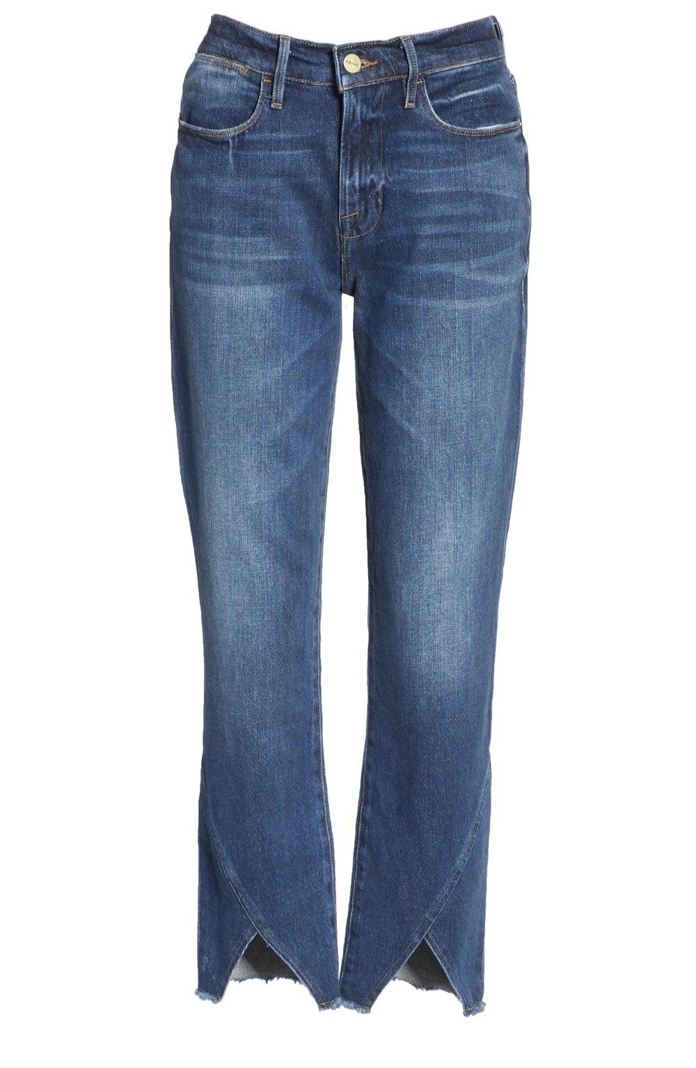FRAME Le High Straight Asymmetrical Hem Jeans {$166.90} - After sale: $250