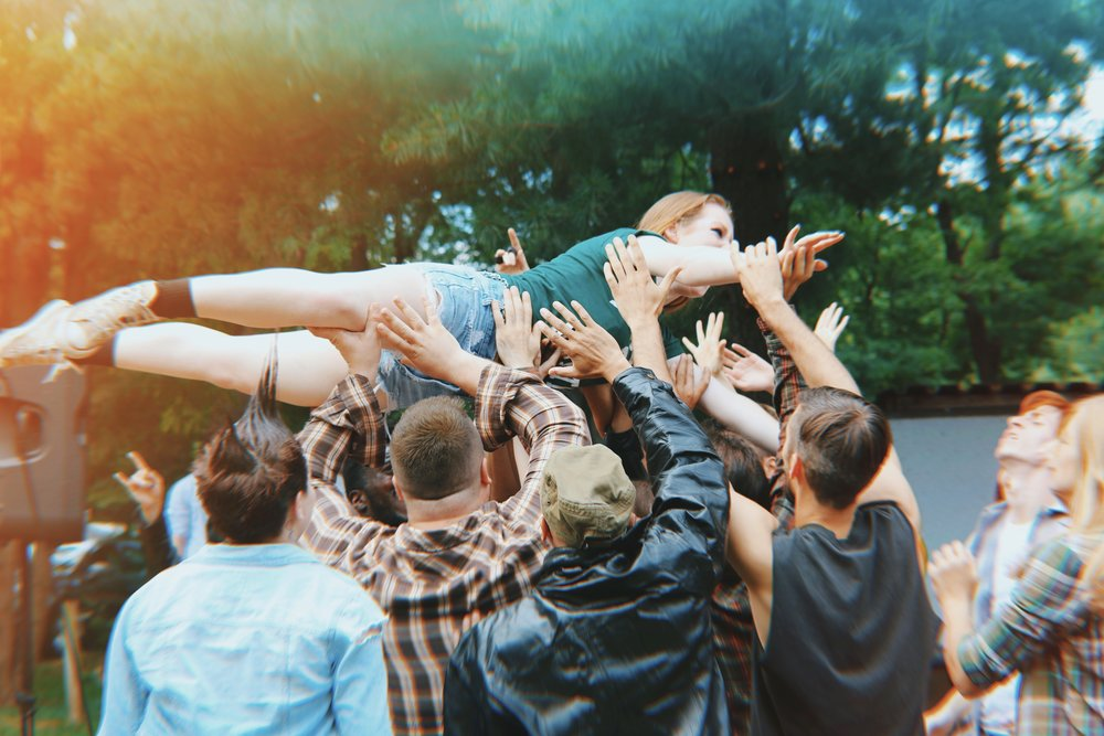Day 2 of shooting- Mosh pit scene. Photo credit: Cam Williams