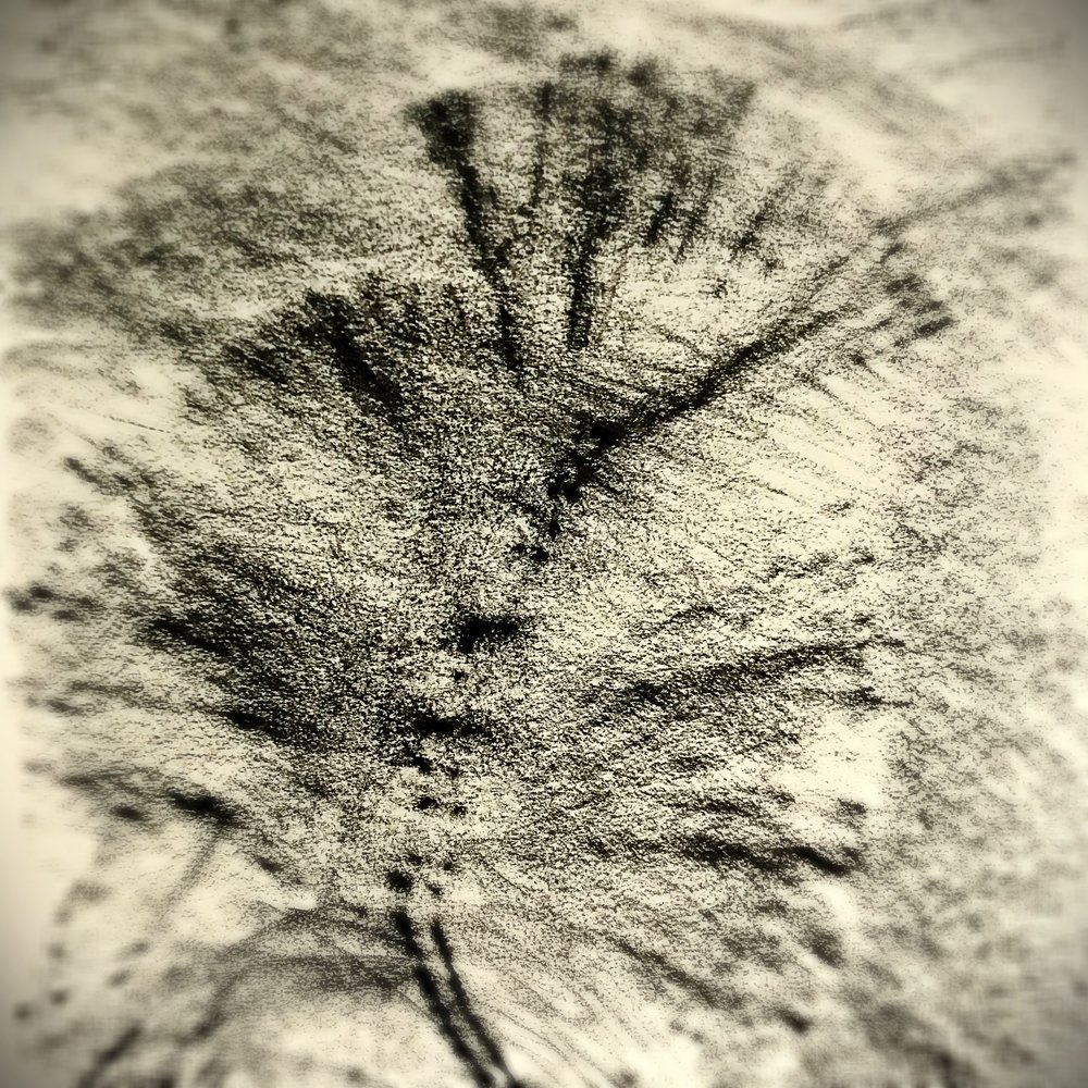 Seeing in beholding. Charcoal rubbing with eyes closed. - Erika