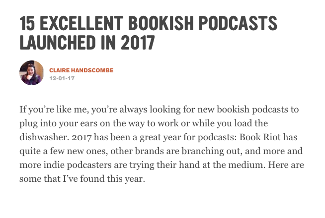 Book Riot: 15 Excellent Bookish Podcasts Launched in 2017