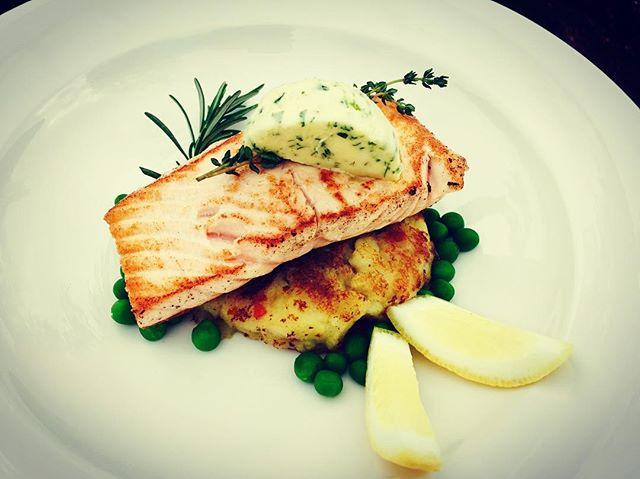 Tonight's Salmon on warm potato salad.