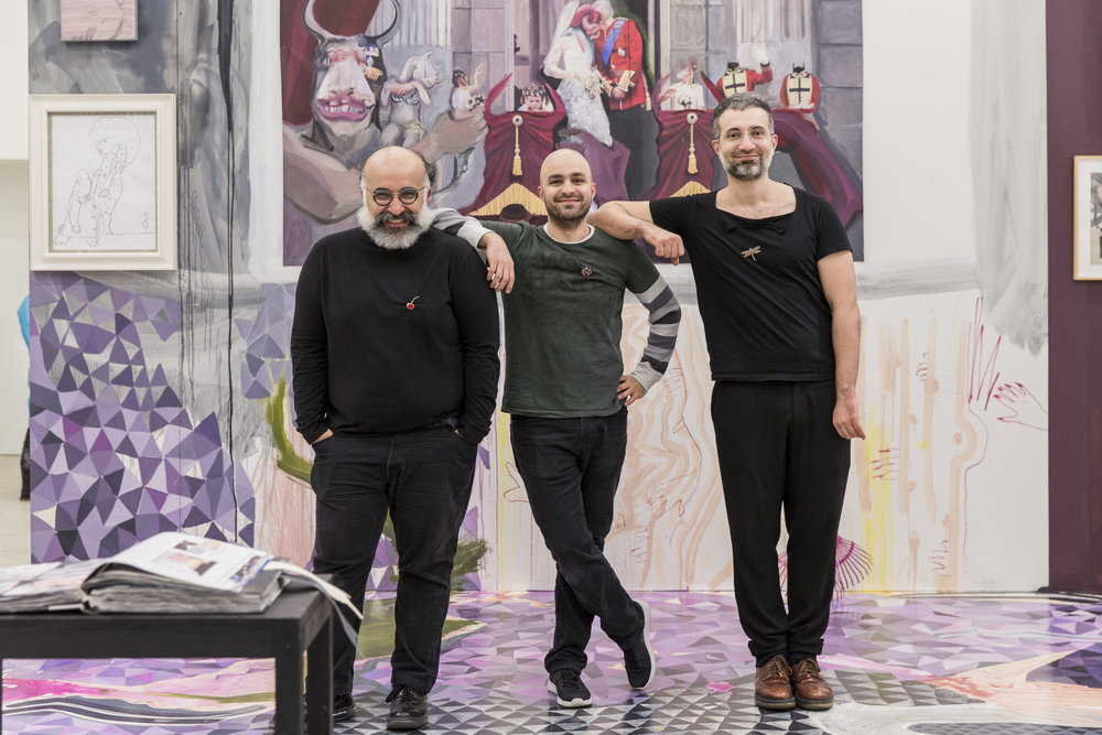 Ramin Haerizadeh, Hesam Rahmanian and Rokni Haerizadeh during their exhibition Those Who Love Spiders And Let Them Sleep In Their Hair at Den Frie Centre of Contemporary Art, Copenhagen Photo: Lior Zilberstein Courtesy the artists and Gallery Isabelle van den Eynde