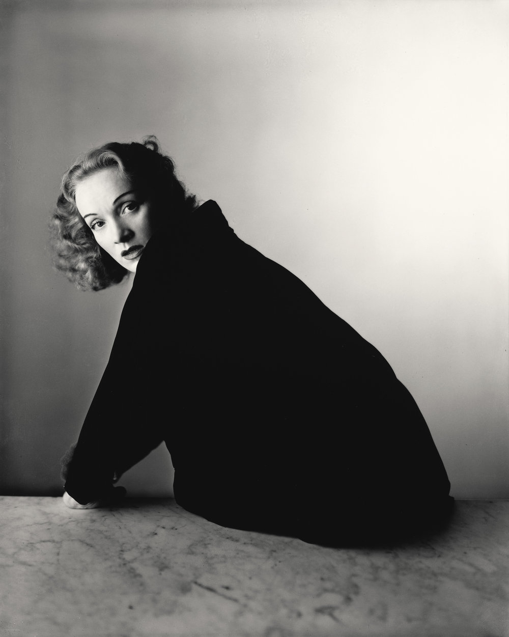 Irving Penn (American, 1917–2009)     Marlene Dietrich , New York, 1948    Gelatin silver print, 2000   10 × 8 1/8 in. (25.4 × 20.6 cm)   The Metropolitan Museum of Art, New York   Promised Gift of The Irving Penn Foundation   © The Irving Penn Foundation