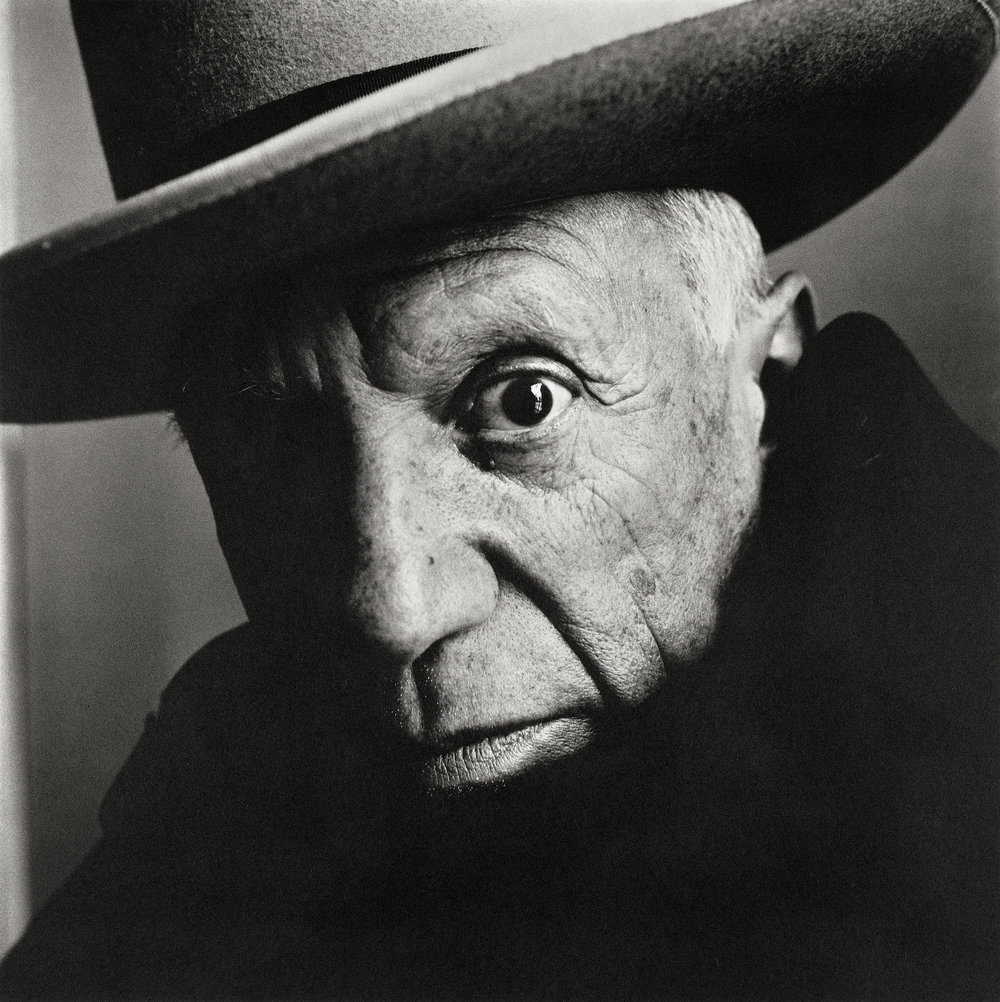 Irving Penn (American, 1917–2009)     Pablo Picasso at La Californie , Cannes, 1957    Platinum-palladium print, 1985   18 ⅝ × 18 ⅝ in. (47.3 × 47.3 cm)   The Metropolitan Museum of Art, New York   Promised Gift of The Irving Penn Foundation   © The Irving Penn Foundation