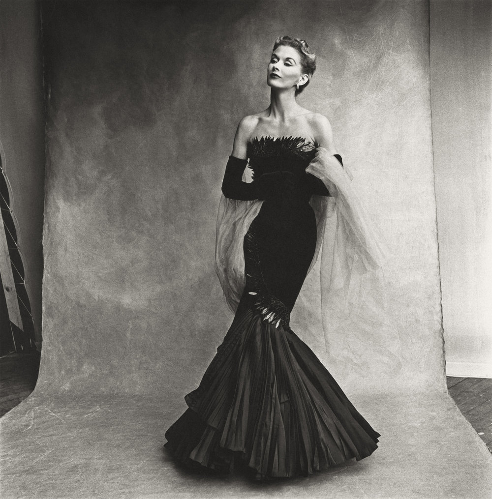 Irving Penn (American, 1917–2009)     Rochas Mermaid Dress (Lisa Fonssagrives-Penn) , Paris, 1950    Platinum-palladium print, 1980   19 ⅞ × 19 ¾ in. (50.5 × 50.2 cm)   The Metropolitan Museum of Art, New York   Promised Gift of The Irving Penn Foundation   © Condé Nast