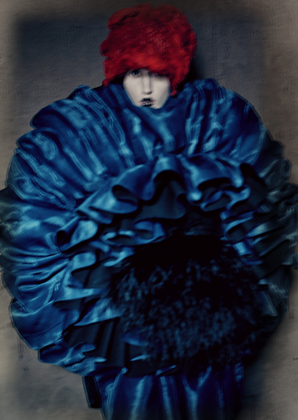 Rei Kawakubo (Japanese, born 1942) for Comme des Garçons  (Japanese, founded 1969). Blue Witch, spring/summer 2016.  Photograph by © Paolo Roversi; Courtesy of The Metropolitan  Museum of Art