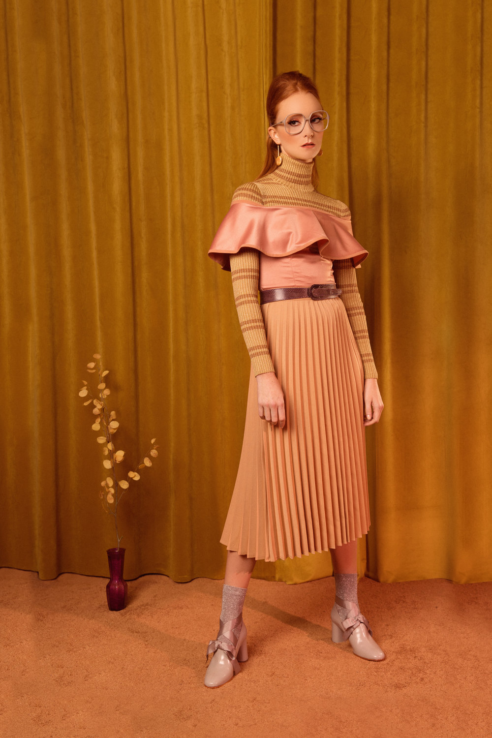 Turtleneck Gucci  Shoes: Rachel Comey  Skirt & Top: Chloe Dao  Earrings: Earthreverie  Socks: Asos