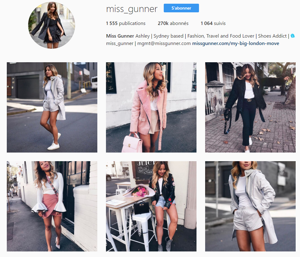 Miss Gunner's  Instagram  feed.