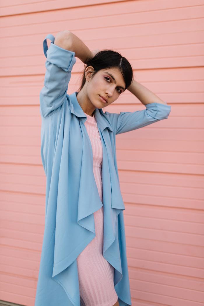 Pink Dress – H&M  Blue Jacket – Forever 21