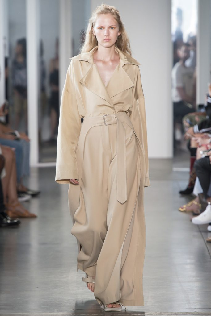 The trench coat inspired Dion Lee oversized trousers.