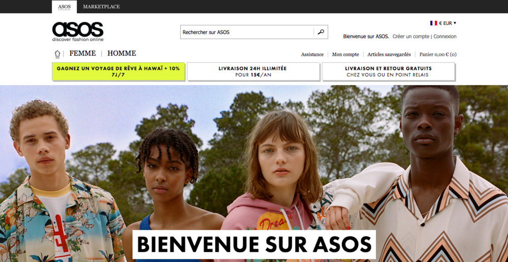 The homepage of the Asos French site.