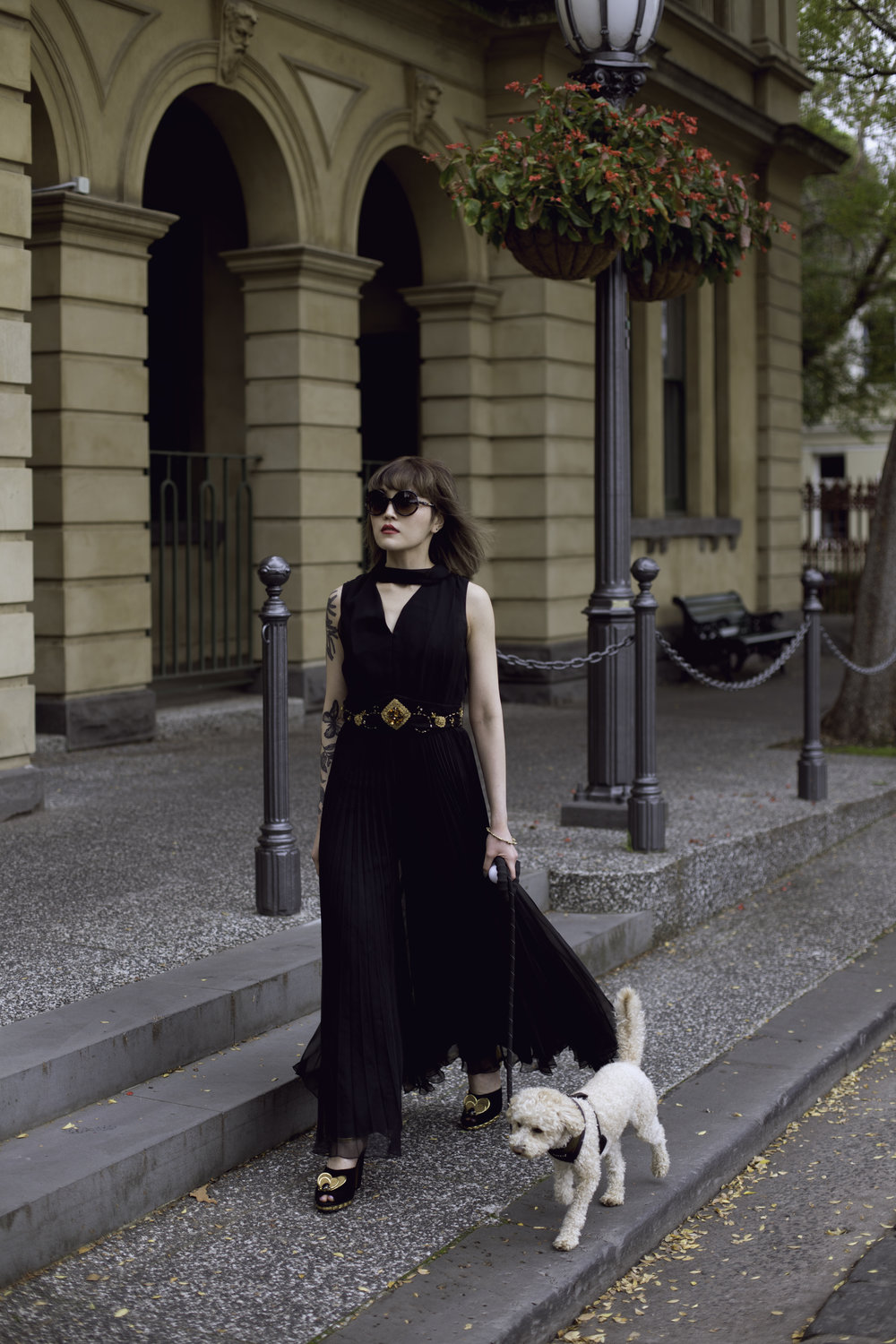 Victoria Avenue  Dress: Enjoy it Vintage // @enjoyitvintage  Jewellery: Emgee // @emgee_ig  Shoes: Marni // @marni  Glasses: Amorir // @amorireyewear  Dog:  Buddy // @mr_buddy_thetoypoodle
