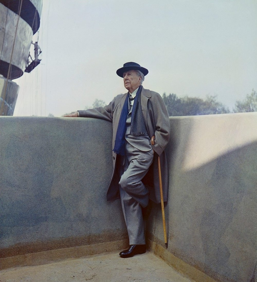 Frank Lloyd Wright on the balcony of the Solomon R. Guggenheim Museum during construction, 1959. Photo: William H. Short. Solomon R. Guggenheim Museum Archives. New York, NY