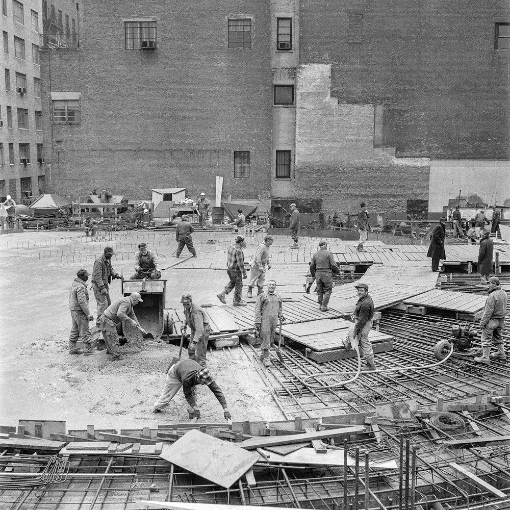 Solomon R. Guggenheim Museum, New York, under construction, ca. 1956–59. Photo: William H. Short © Solomon R. Guggenheim Museum Archives, New York