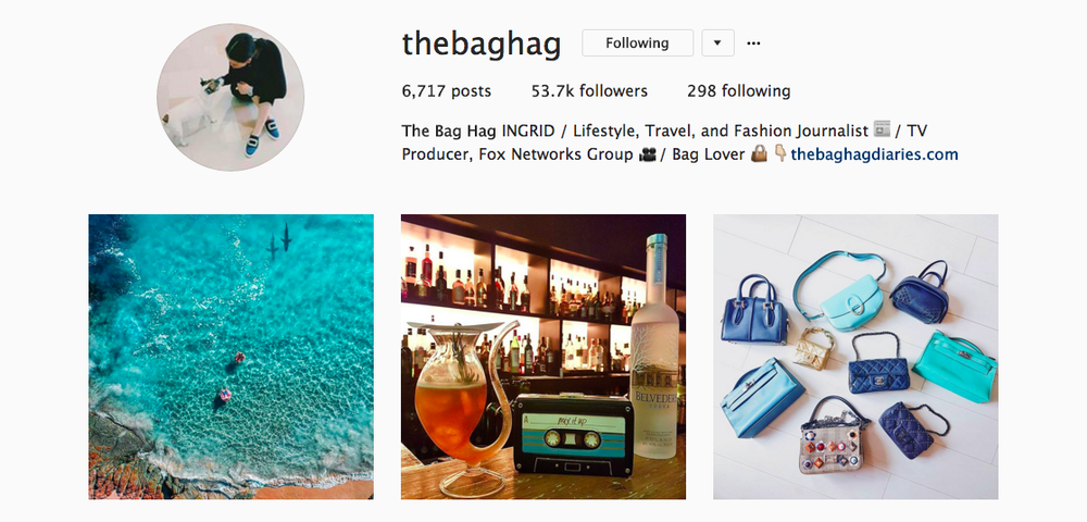 The Bag Hag Diaries Instagram feed.