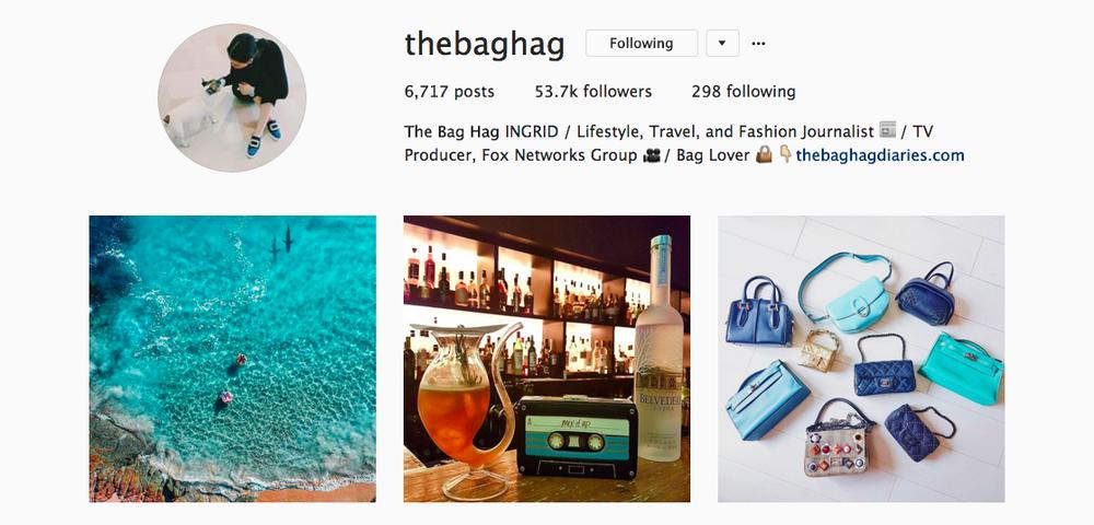 The Bag Hag Diaries Instagram feed.