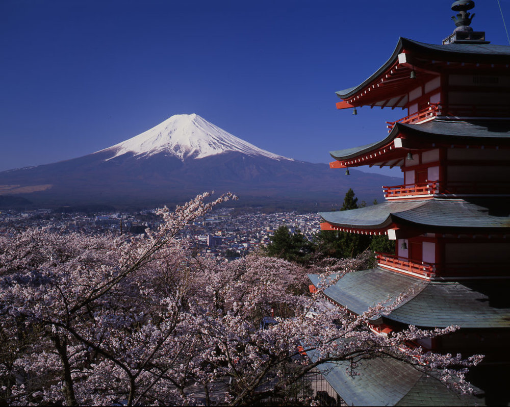 A view of Mount Fuji in Japan.