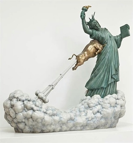 Statue of Liberty and The Golden Bull, by Chen Wenling