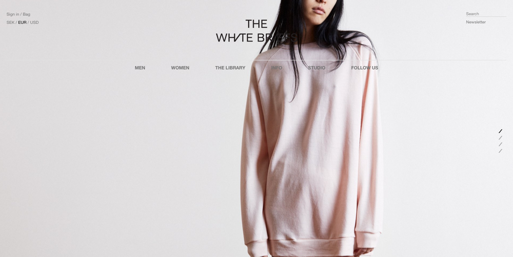 The White Briefs homepage.