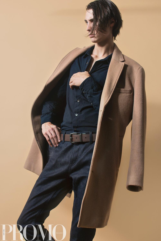 Navy button Up Calvin Klein Tan Coat Levi's (reversible) Belt Han Kjobenhaven Jeans