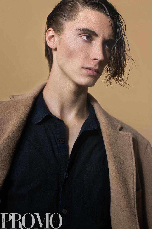Navy button Up Calvin Klein Tan Coat
